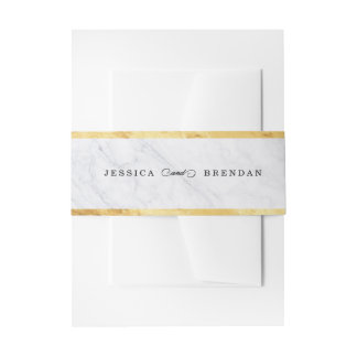 Elegant Modern Gold Wedding Invitation Belly Band