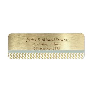 Elegant modern golden chevron return address label