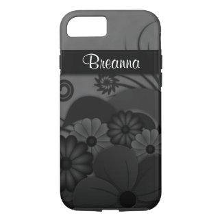 Elegant Modern Gothic Black Floral Hibiscus Tough iPhone 8/7 Case