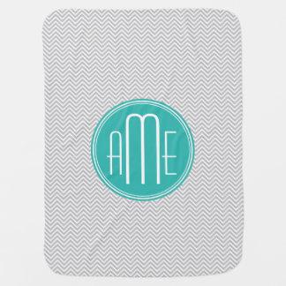 Elegant Modern Gray Chevron and Mint Monogram Receiving Blankets