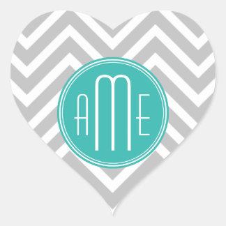 Elegant Modern Gray Chevron and Mint Monogram Heart Sticker