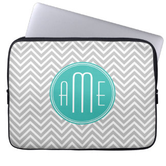 Elegant Modern Gray Chevron and Mint Monogram Laptop Sleeve
