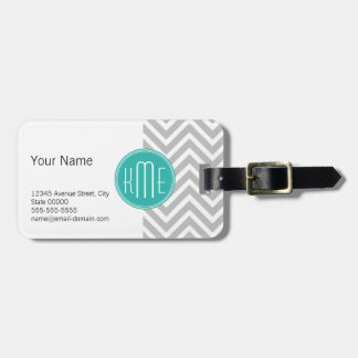 Elegant Modern Gray Chevron and Mint Monogram Luggage Tag