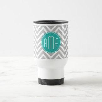 Elegant Modern Gray Chevron and Mint Monogram Travel Mug