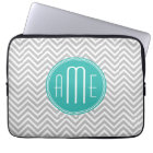 Elegant Modern Grey Chevron and Mint Monogram Laptop Sleeve