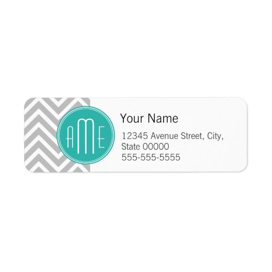 Elegant Modern Grey Chevron and Mint Monogram Return Address Label