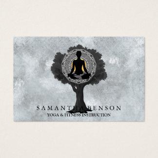 Elegant Modern Mandala Yoga Pose Tree Logo Art Business Card