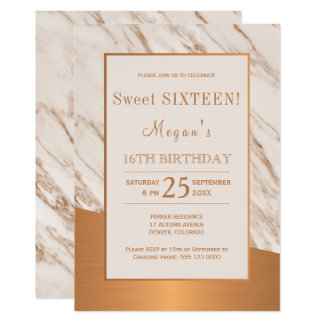 Elegant modern marble copper sweet sixteen card