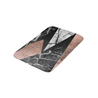 Elegant Modern Marble, Rose Gold, & Black Triangle Bath Mats