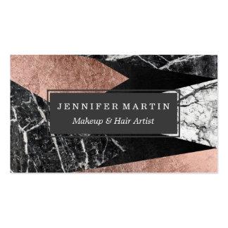 Elegant Modern Marble, Rose Gold, & Black Triangle Pack Of Standard Business Cards