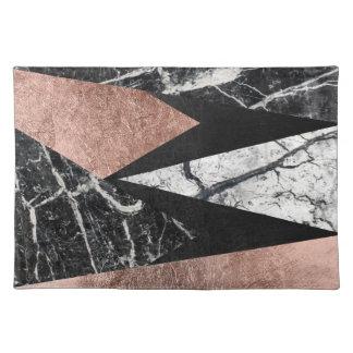 Elegant Modern Marble, Rose Gold, & Black Triangle Placemat