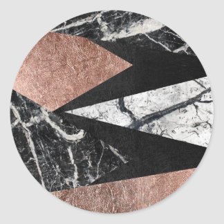 Elegant Modern Marble, Rose Gold, & Black Triangle Round Sticker
