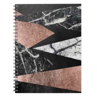 Elegant Modern Marble, Rose Gold, & Black Triangle Spiral Notebooks