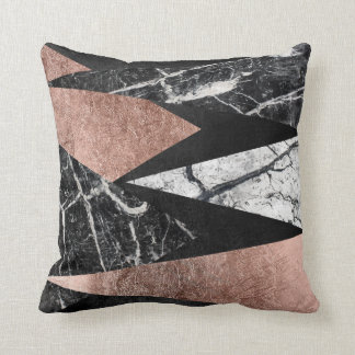 Elegant Modern Marble, Rose Gold, & Black Triangle Throw Pillow