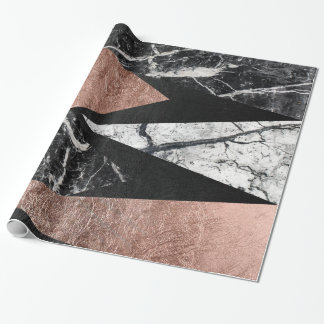 Elegant Modern Marble, Rose Gold, & Black Triangle Wrapping Paper