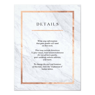 Elegant Modern Marble & Rose Gold Insert Cards 11 Cm X 14 Cm Invitation Card