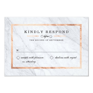 Elegant Modern Marble & Rose Gold RSVP Cards 9 Cm X 13 Cm Invitation Card
