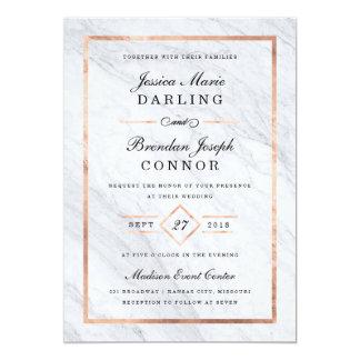 Elegant Modern Marble & Rose Gold Wedding 13 Cm X 18 Cm Invitation Card