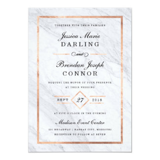 Elegant Modern Marble & Rose Gold Wedding Card