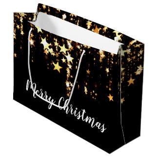 elegant modern Merry Christmas gold stars Large Gift Bag