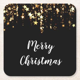 elegant modern Merry Christmas gold stars Square Paper Coaster