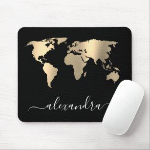 Elegant modern minimal gold black world map mouse pad