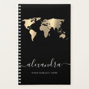 Elegant modern minimal gold black world map planner