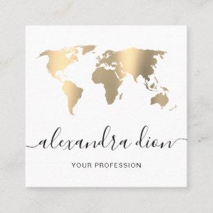 Elegant modern minimal gold white world map square business card