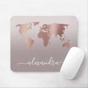 Elegant modern minimal rose gold grey world map mouse pad