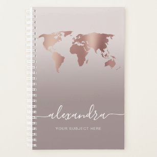 Elegant modern minimal rose gold grey world map planner