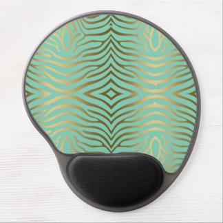 Elegant Modern Mint-Green & Gold Zebra Stripes Gel Mouse Pad
