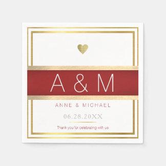 elegant / modern monogram wedding reception disposable serviettes