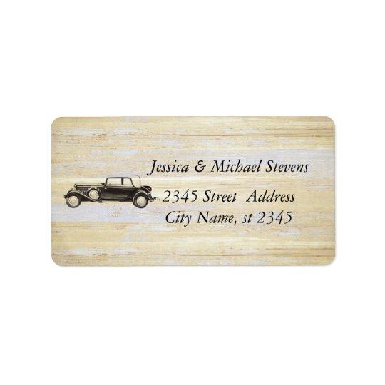Elegant modern old car vintage wedding address label