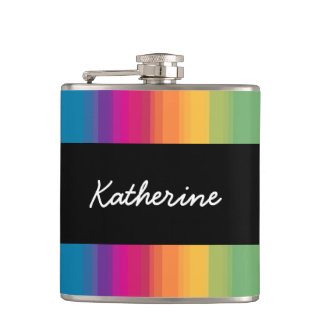 Elegant modern ombre gradient colorful rainbow hip flask
