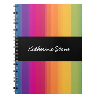 Elegant modern ombre gradient colorful rainbow notebook