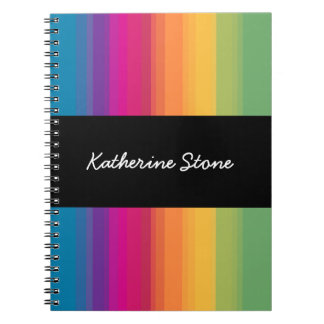 Elegant modern ombre gradient colorful rainbow spiral notebook