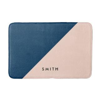 elegant modern pastel peach navy blue color block bath mat