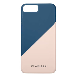 elegant modern pastel peach navy blue color block iPhone 8 plus/7 plus case