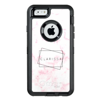 elegant modern pastel pink and white faux marble OtterBox defender iPhone case