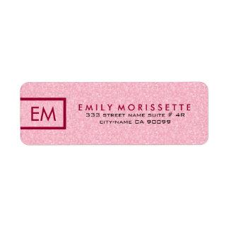 Elegant Modern Plain Pink Glitter And Red Return Address Label
