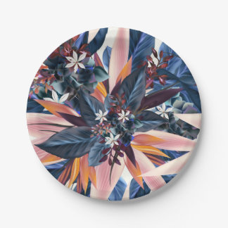 Elegant modern pointy leaf art painting 7 inch paper plate