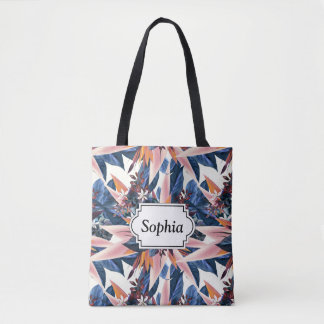 Elegant modern pointy leaf art painting tote bag