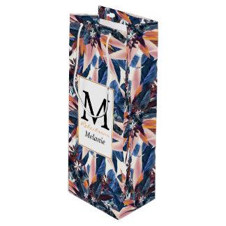 Elegant modern pointy leaf art painting wine gift bag