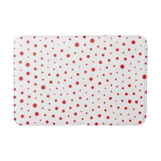 Elegant Modern Polka Dots -Red- Customize BG Bath Mat