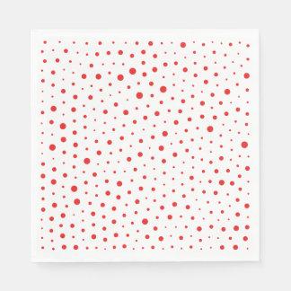 Elegant Modern Polka Dots -Red- Customize BG Disposable Serviettes