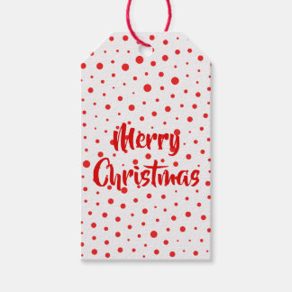 Elegant Modern Polka Dots -Red- Customize BG Gift Tags