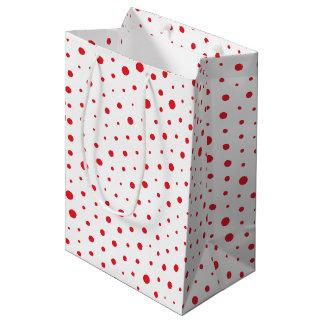 Elegant Modern Polka Dots -Red- Customize BG Medium Gift Bag