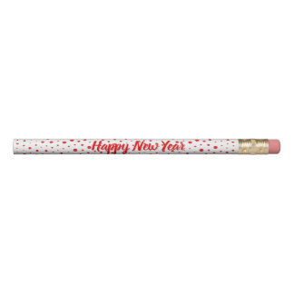 Elegant Modern Polka Dots -Red- Customize BG Pencil