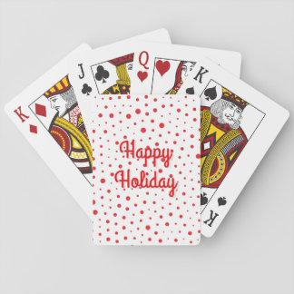 Elegant Modern Polka Dots -Red- Customize BG Playing Cards
