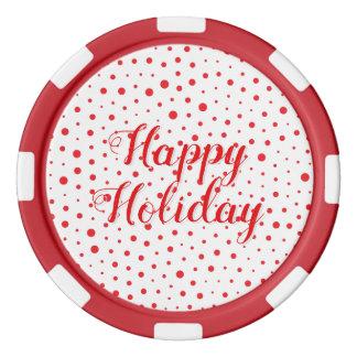 Elegant Modern Polka Dots -Red- Customize BG Poker Chips